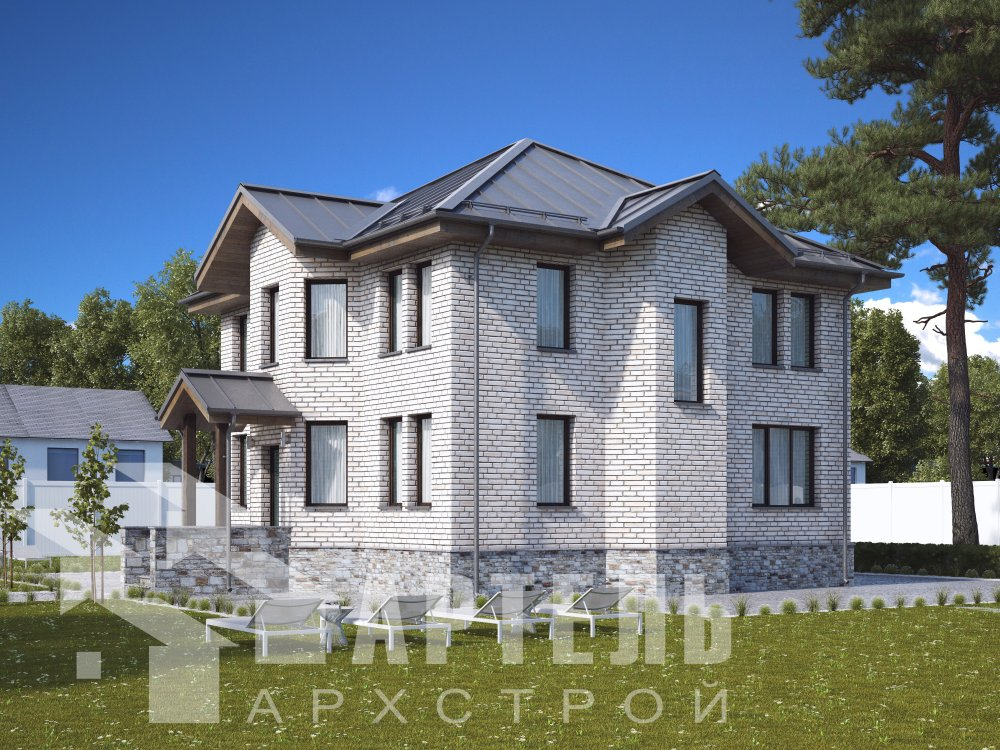 двухэтажный дом из камня площадью от 150 до 200 кв. м. с  террасой, эркером, проект Вариант 10,6К Каменный фотография 6309