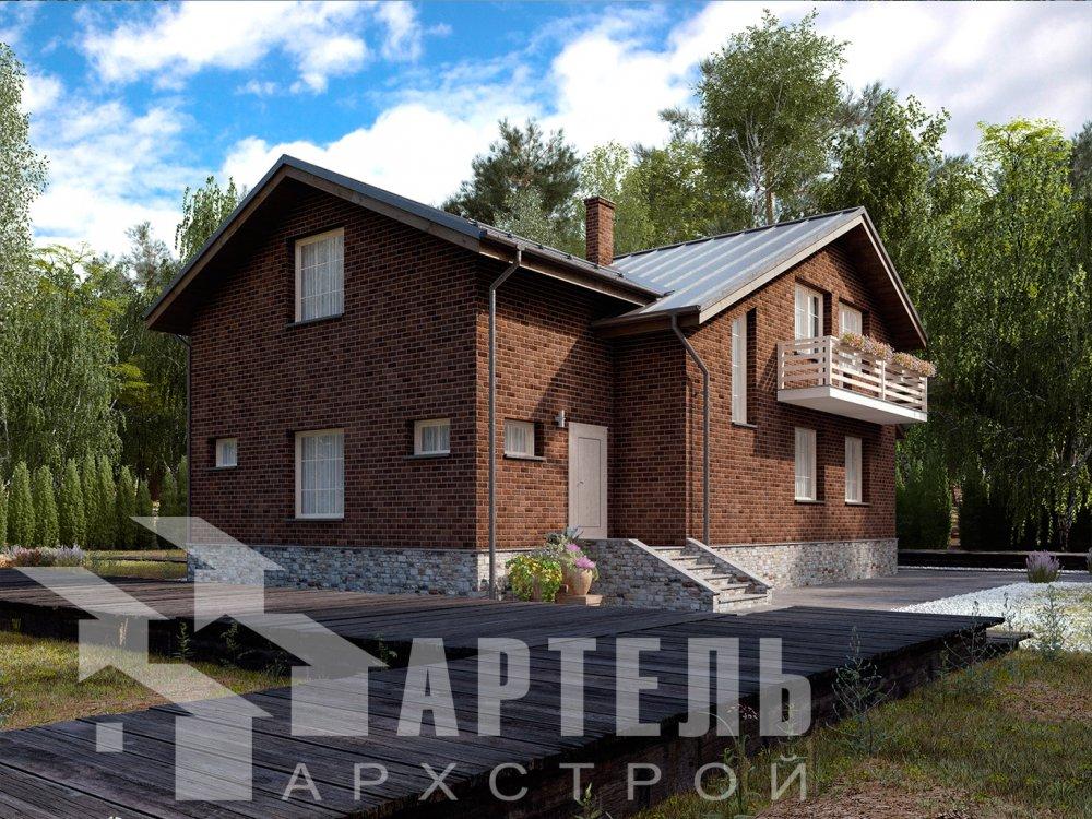 двухэтажный дом из камня площадью от 150 до 200 кв. м. с  балконом, эркером, проект Вариант 14 фотография 6396