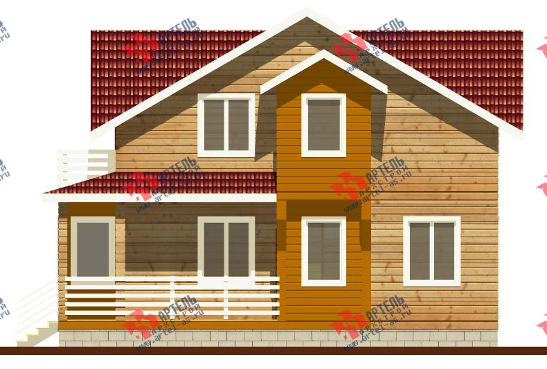 двухэтажный дом из профилированного бруса камерной сушки площадью от 100 до 150 кв. м. с  балконом, мансардой, террасой, проект Вариант 1 фотография 2520
