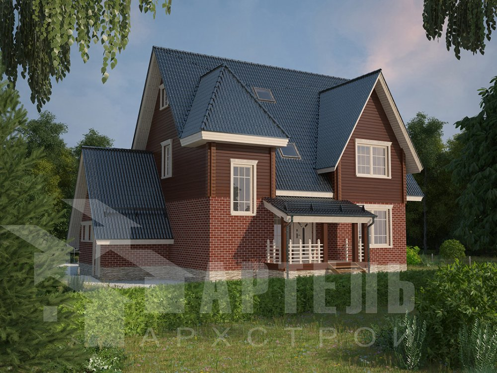 двухэтажный дом из профилированного бруса площадью свыше 200 кв. м. с  гаражом, мансардой, террасой, проект Вариант 10.2 А фотография 4365