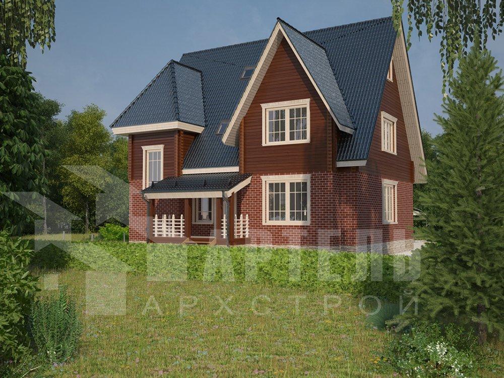 двухэтажный дом из профилированного бруса площадью свыше 200 кв. м. с  гаражом, мансардой, террасой, проект Вариант 10.2 А фотография 4366