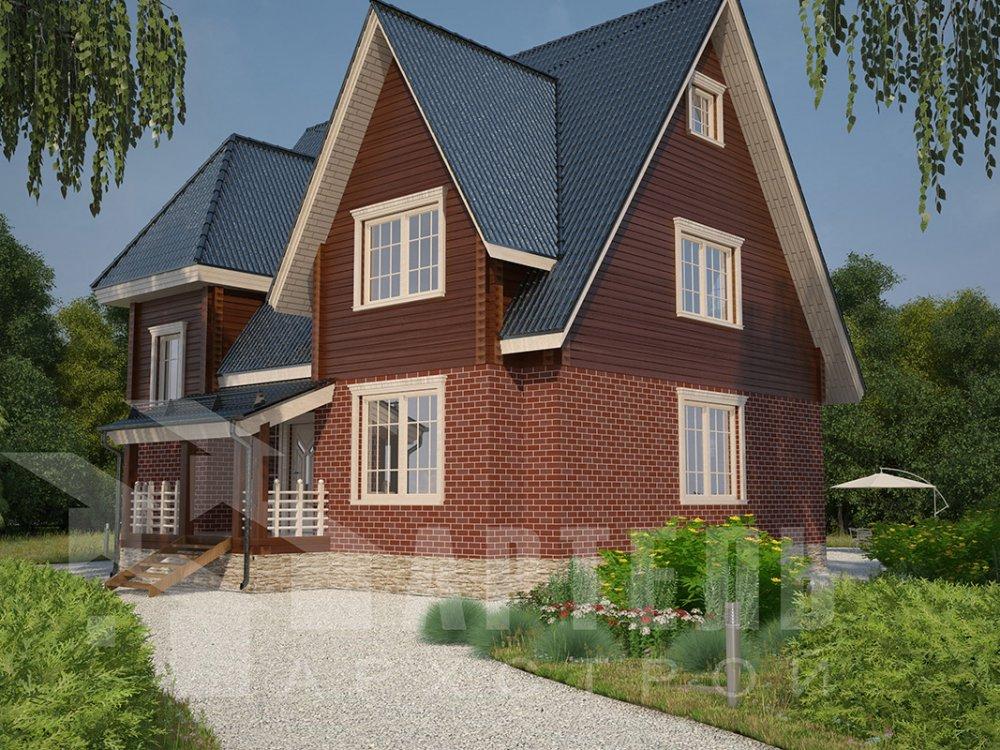 двухэтажный дом из профилированного бруса площадью свыше 200 кв. м. с  гаражом, мансардой, террасой, проект Вариант 10.2 А фотография 4367