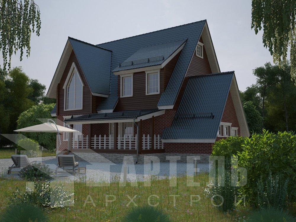 двухэтажный дом из профилированного бруса площадью свыше 200 кв. м. с  гаражом, мансардой, террасой, проект Вариант 10.2 А фотография 4369