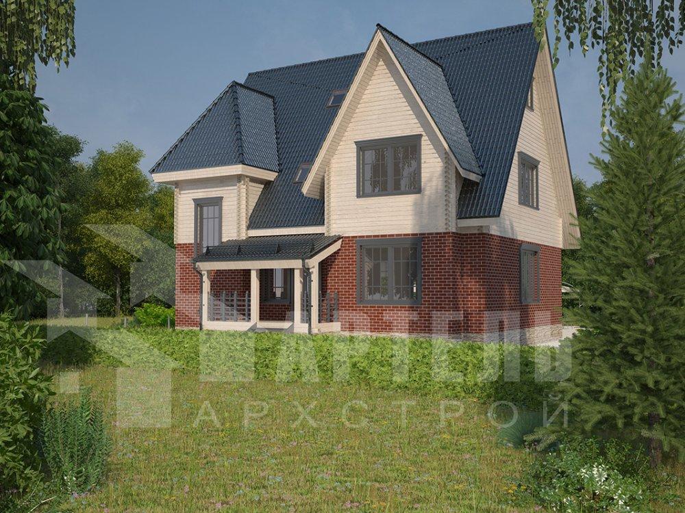 двухэтажный дом из профилированного бруса площадью свыше 200 кв. м. с  гаражом, мансардой, террасой, проект Вариант 10.2 А фотография 4372