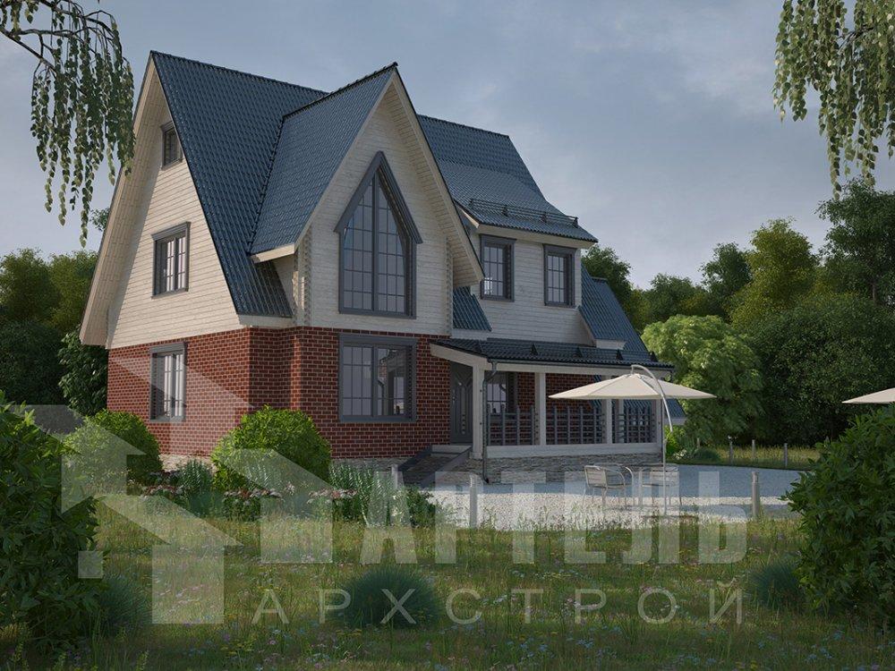 двухэтажный дом из профилированного бруса площадью свыше 200 кв. м. с  гаражом, мансардой, террасой, проект Вариант 10.2 А фотография 4374