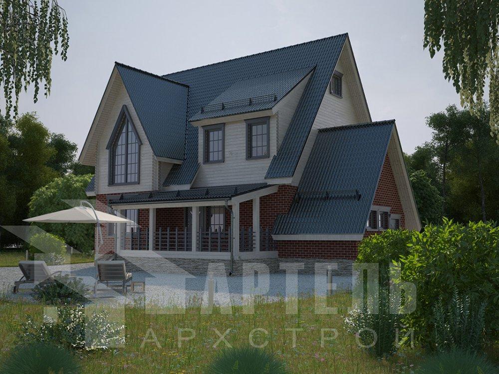 двухэтажный дом из профилированного бруса площадью свыше 200 кв. м. с  гаражом, мансардой, террасой, проект Вариант 10.2 А фотография 4375