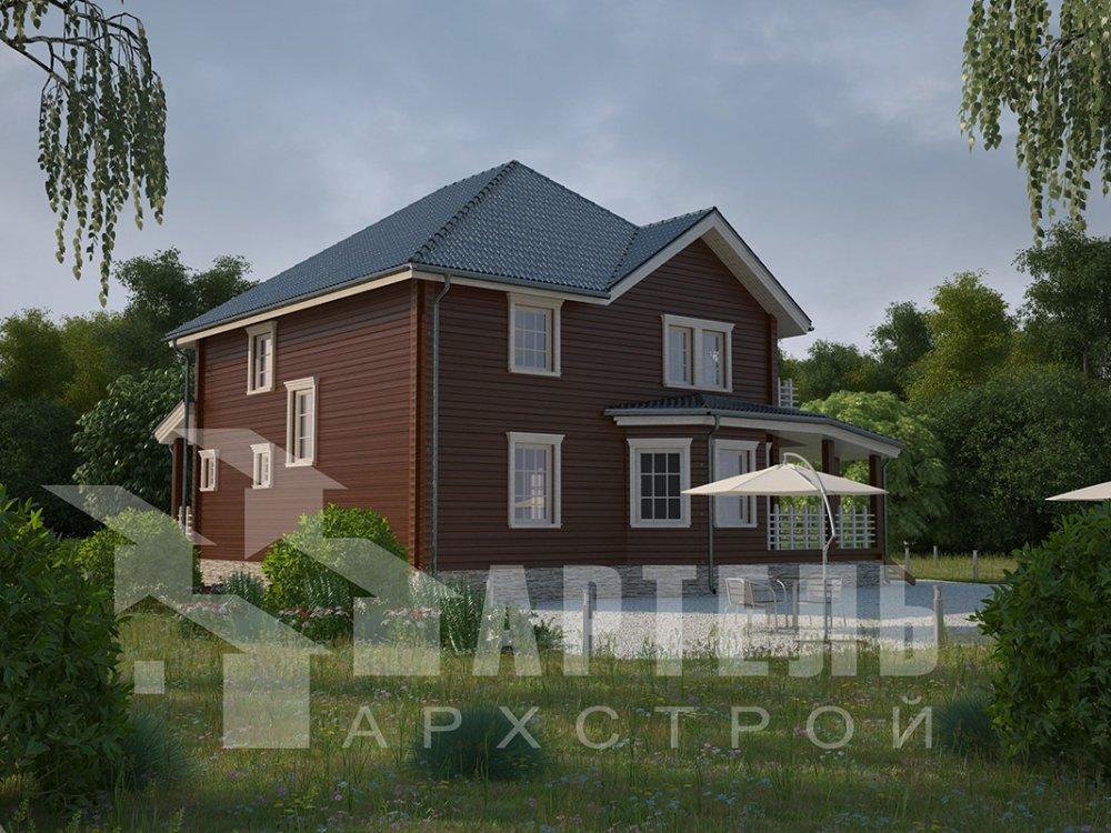 двухэтажный дом из профилированного бруса площадью свыше 200 кв. м. с  балконом, мансардой, террасой, эркером, проект Вариант 10.5 А фотография 4406