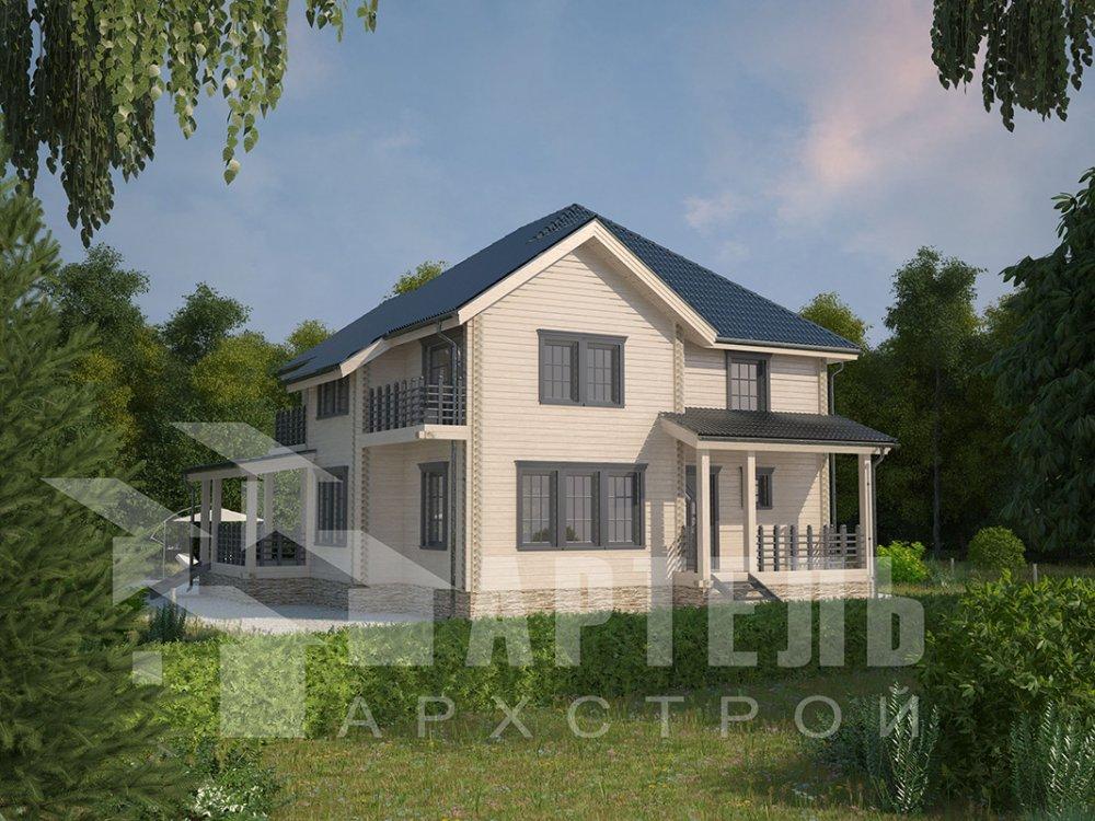 двухэтажный дом из профилированного бруса площадью свыше 200 кв. м. с  балконом, мансардой, террасой, эркером, проект Вариант 10.5 А фотография 4409