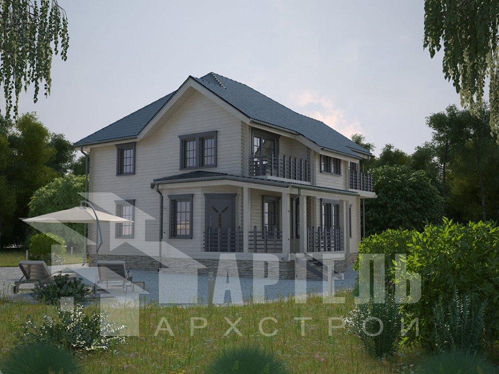 двухэтажный дом из профилированного бруса площадью свыше 200 кв. м. с  балконом, мансардой, террасой, эркером, проект Вариант 10.5 А фотография 4413