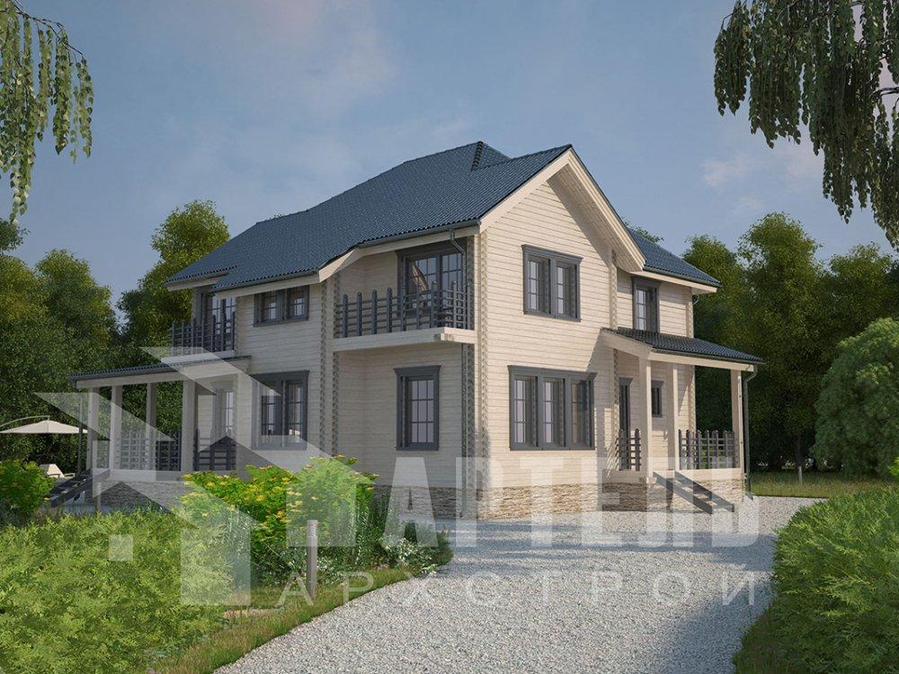 двухэтажный дом из профилированного бруса площадью свыше 200 кв. м. с  балконом, мансардой, террасой, эркером, проект Вариант 10.5 А фотография 4414