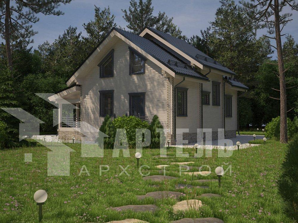 двухэтажный дом из профилированного бруса площадью от 150 до 200 кв. м. с  террасой, проект Вариант 10.5 В фотография 4286