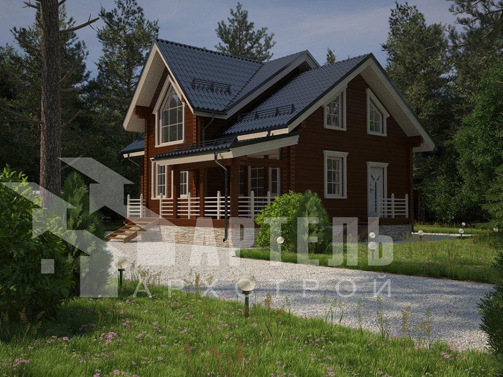 двухэтажный дом из профилированного бруса площадью от 150 до 200 кв. м. с  террасой, проект Вариант 10.5 В фотография 4279