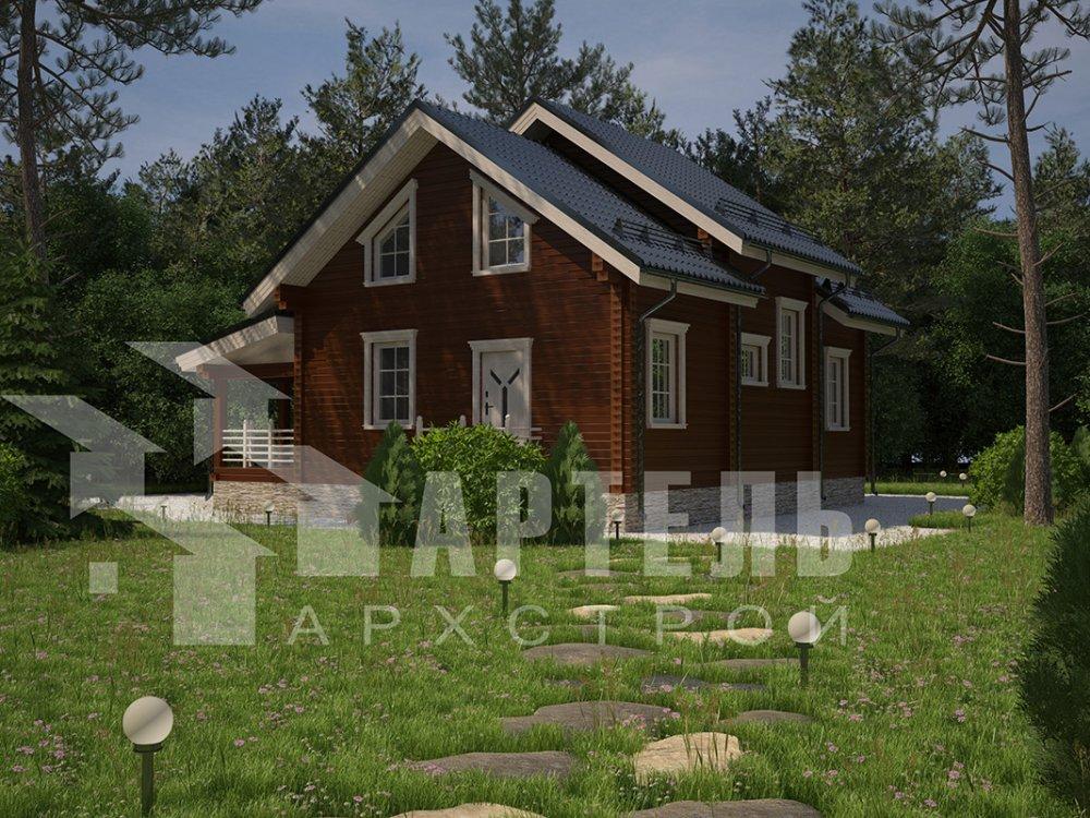 двухэтажный дом из профилированного бруса площадью от 150 до 200 кв. м. с  террасой, проект Вариант 10.5 В фотография 4280