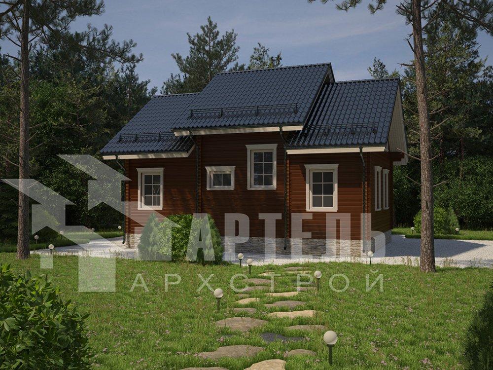 двухэтажный дом из профилированного бруса площадью от 150 до 200 кв. м. с  террасой, проект Вариант 10.5 В фотография 4281
