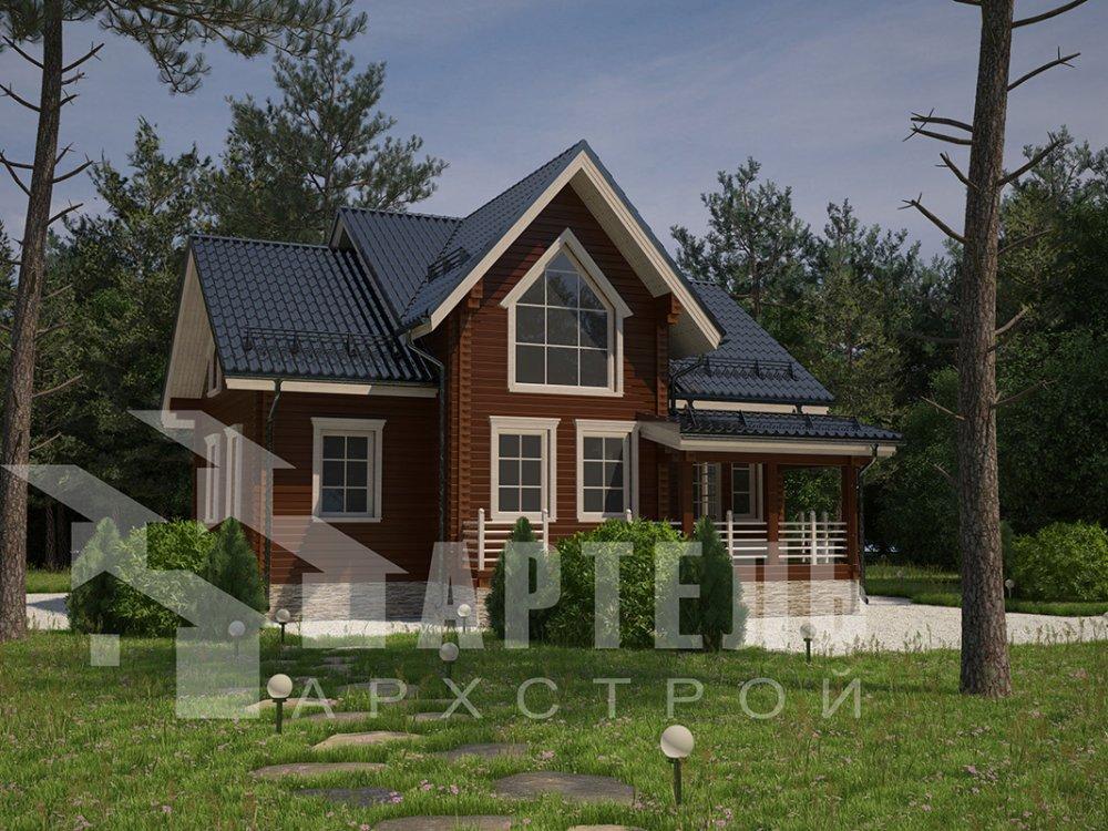 двухэтажный дом из профилированного бруса площадью от 150 до 200 кв. м. с  террасой, проект Вариант 10.5 В фотография 4284