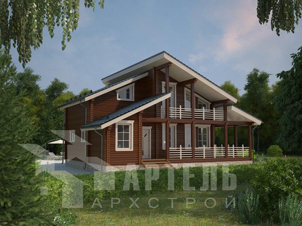 двухэтажный дом из профилированного бруса площадью от 150 до 200 кв. м. с  балконом, верандой, мансардой, террасой, проект Вариант 10.6 А фотография 4679
