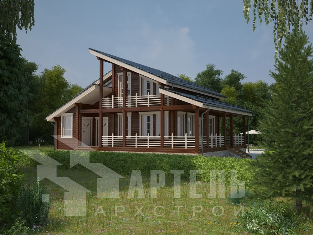 двухэтажный дом из профилированного бруса площадью от 150 до 200 кв. м. с  балконом, верандой, мансардой, террасой, проект Вариант 10.6 А фотография 4678