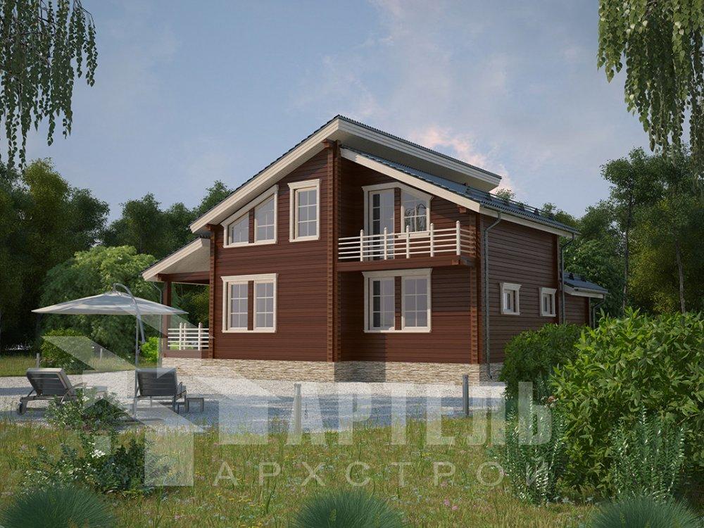 двухэтажный дом из профилированного бруса площадью от 150 до 200 кв. м. с  балконом, верандой, мансардой, террасой, проект Вариант 10.6 А фотография 4682