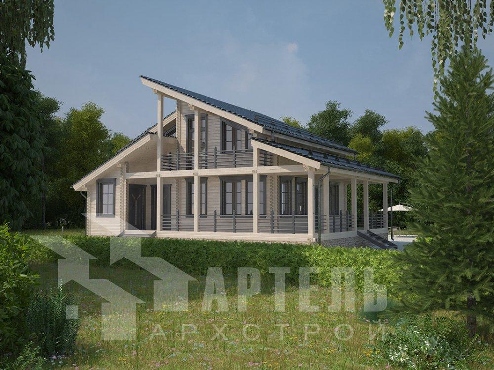 двухэтажный дом из профилированного бруса площадью от 150 до 200 кв. м. с  балконом, верандой, мансардой, террасой, проект Вариант 10.6 А фотография 4675