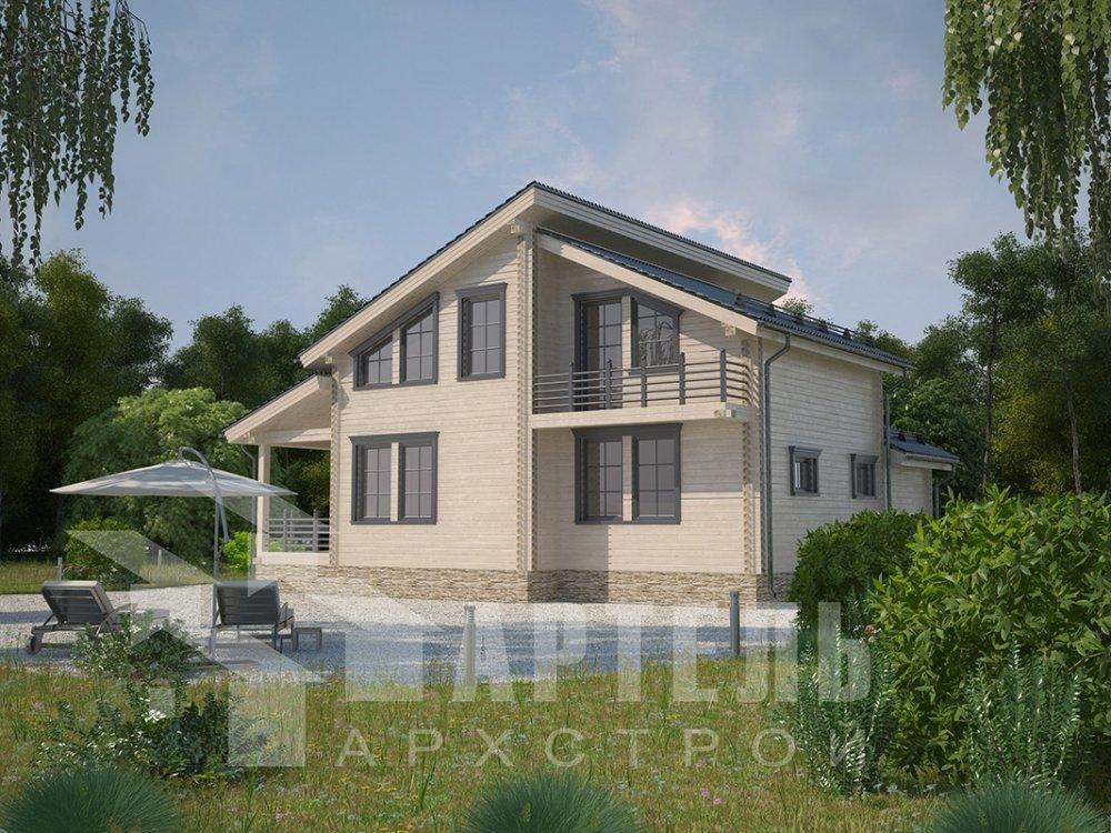 двухэтажный дом из профилированного бруса площадью от 150 до 200 кв. м. с  балконом, верандой, мансардой, террасой, проект Вариант 10.6 А фотография 4676