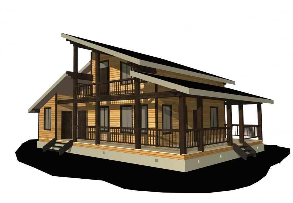 двухэтажный дом из профилированного бруса площадью от 150 до 200 кв. м. с  балконом, верандой, мансардой, террасой, проект Вариант 10.6 А фотография 4692