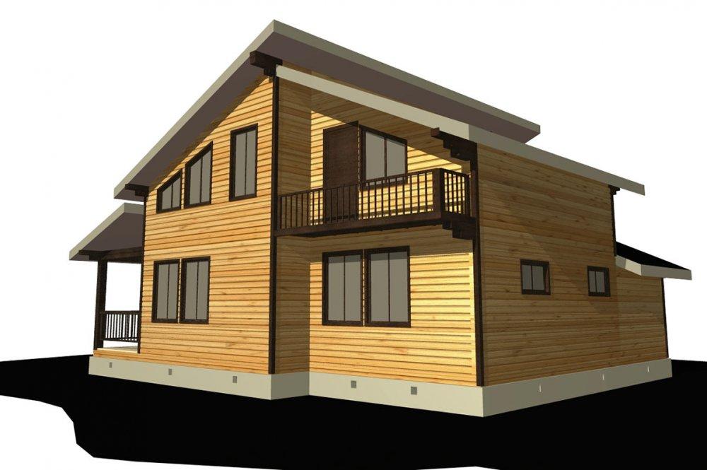 двухэтажный дом из профилированного бруса площадью от 150 до 200 кв. м. с  балконом, верандой, мансардой, террасой, проект Вариант 10.6 А фотография 4689