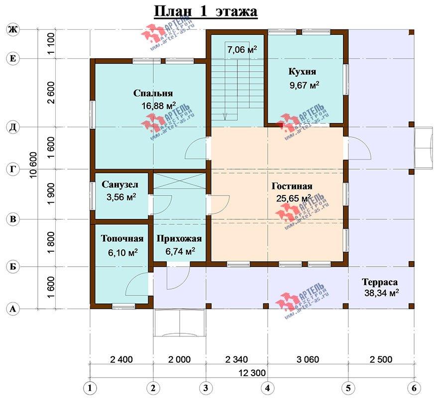 двухэтажный дом из профилированного бруса площадью от 150 до 200 кв. м. с  балконом, верандой, мансардой, террасой, проект Вариант 10.6 А фотография 4831