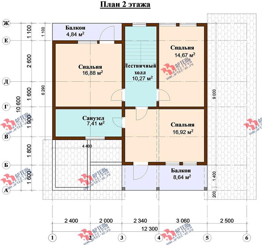 двухэтажный дом из профилированного бруса площадью от 150 до 200 кв. м. с  балконом, верандой, мансардой, террасой, проект Вариант 10.6 А фотография 4832