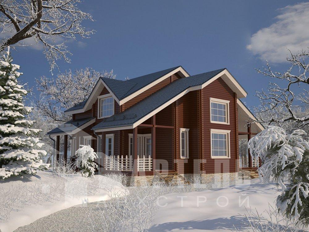 двухэтажный дом из профилированного бруса площадью свыше 200 кв. м. с  мансардой, проект Вариант 10.7 К фотография 4595