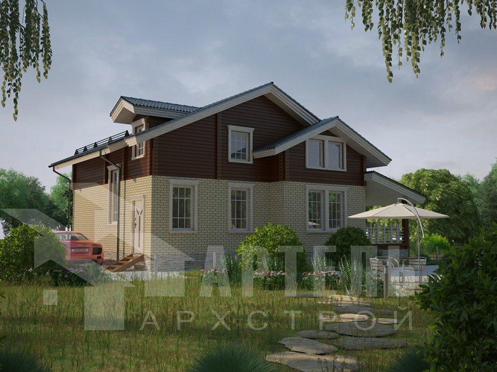 двухэтажный дом омбинированные дома площадью свыше 200 кв. м. с  балконом, террасой, эркером, проект Вариант 10.8 А Комбинированный фотография 4386
