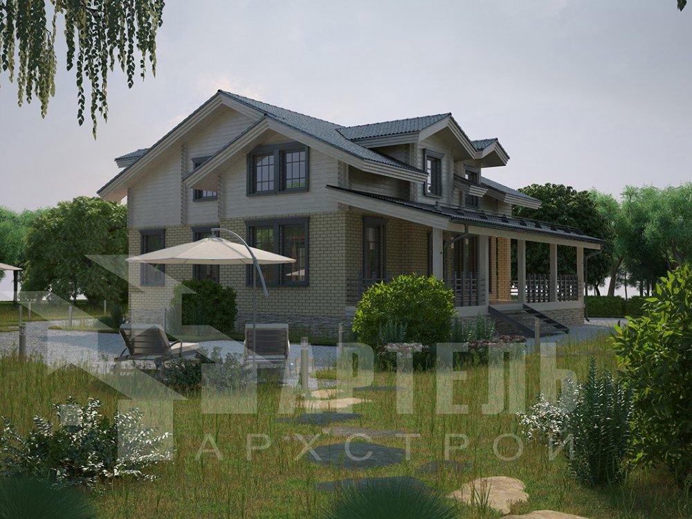 двухэтажный дом омбинированные дома площадью свыше 200 кв. м. с  балконом, террасой, эркером, проект Вариант 10.8 А Комбинированный фотография 4379