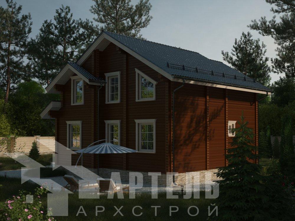 двухэтажный дом из профилированного бруса площадью от 100 до 150 кв. м. с  балконом, мансардой, проект Вариант 9.3 К фотография 6411