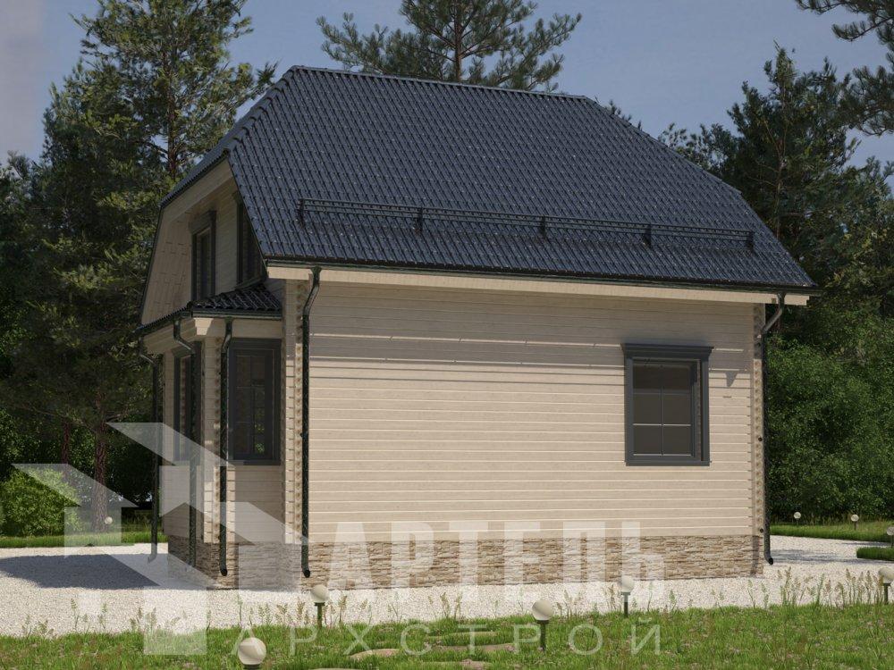 двухэтажный дом из профилированного бруса площадью до 100 кв. м. с  мансардой, эркером, проект Вариант 7 Г фотография 6600