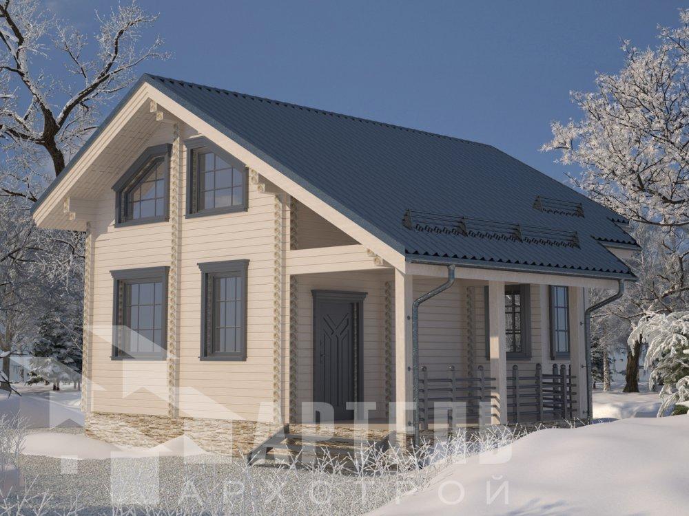 двухэтажный дом из профилированного бруса площадью от 100 до 150 кв. м. с  верандой, мансардой, эркером, проект Вариант 6 Л фотография 6619