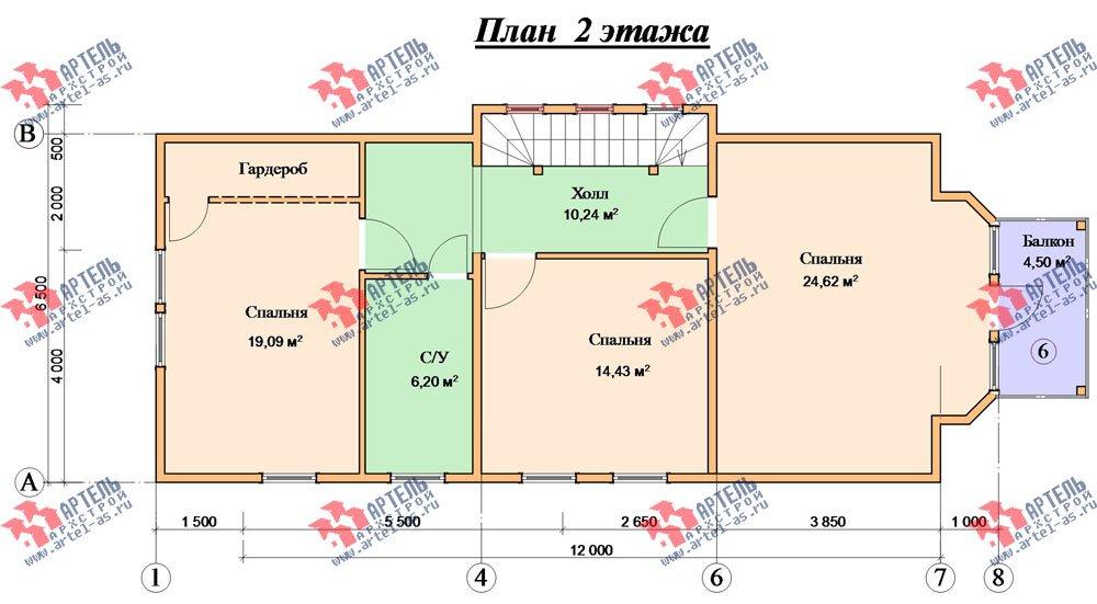 трёхэтажный дом из бруса площадью свыше 200 кв. м. с  балконом, мансардой, проект Вариант 6.3 Н фотография 2300