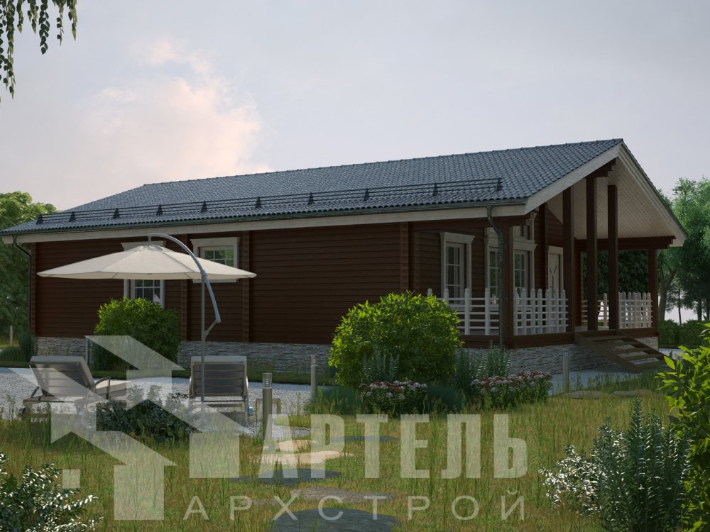 одноэтажный дом из профилированного бруса площадью от 100 до 150 кв. м. с  террасой, проект Вариант 12.4 Б фотография 6427