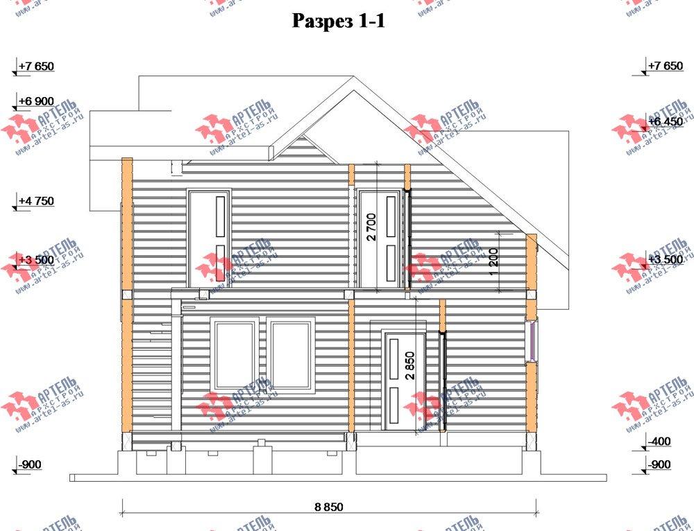 двухэтажный дом из бруса площадью от 100 до 150 кв. м. с  мансардой, проект Вариант 4 фотография 2515