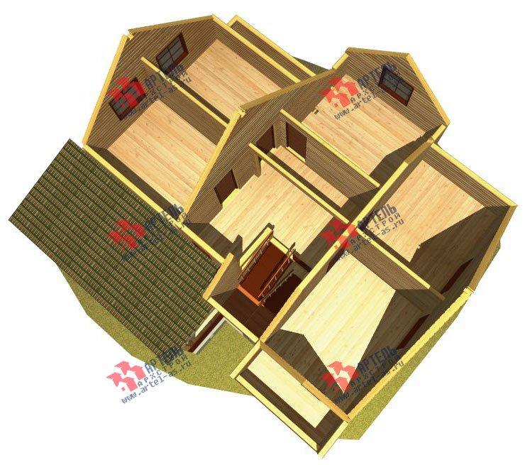 двухэтажный дом из бруса площадью от 150 до 200 кв. м. с  балконом, террасой, эркером, проект Вариант 12.4 А фотография 2678