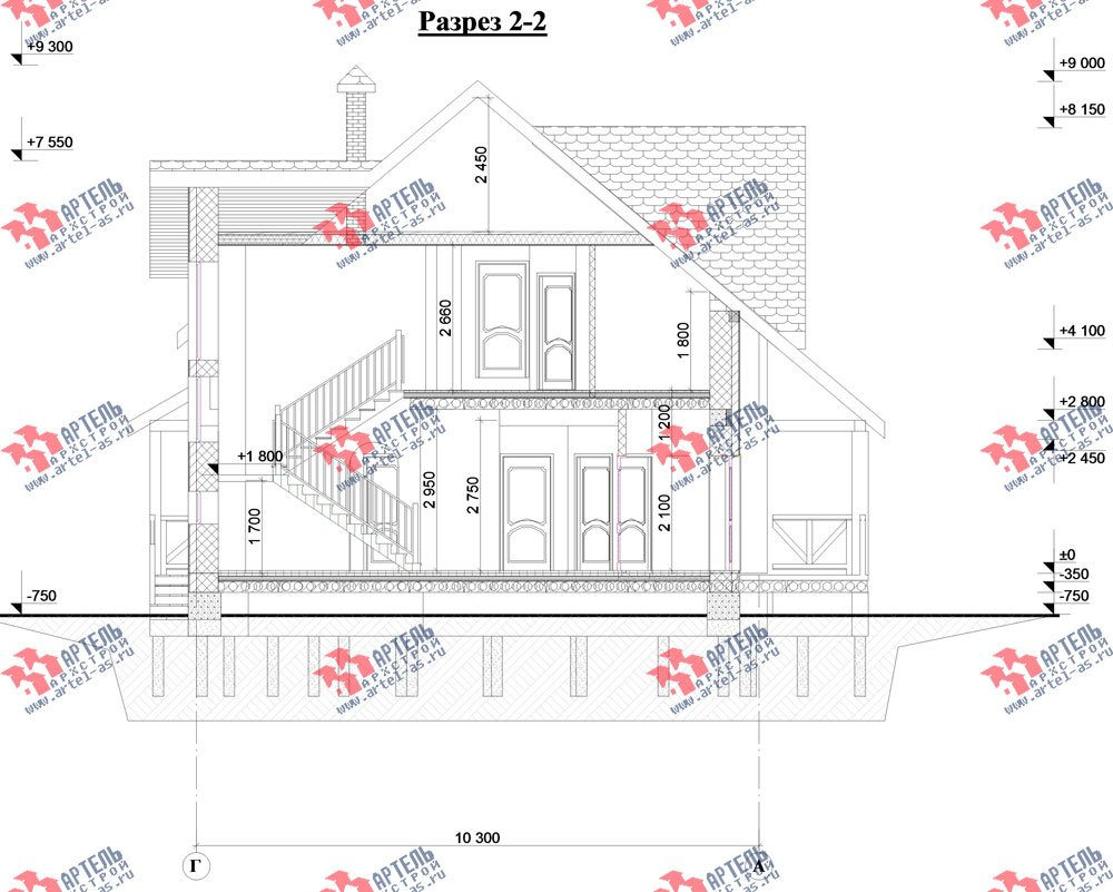двухэтажный дом из камня площадью свыше 200 кв. м. с  балконом, эркером, проект Вариант 23 фотография 2721