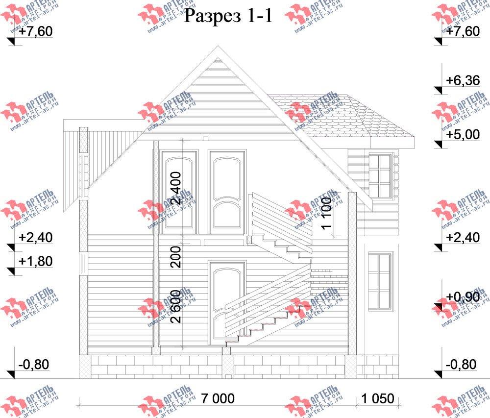 двухэтажный дом из бруса площадью от 100 до 150 кв. м. с  мансардой, эркером, проект Вариант 7 фотография 2806