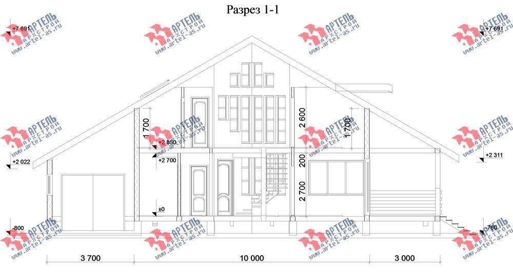 двухэтажный дом из бруса площадью от 150 до 200 кв. м. с  мансардой, террасой, эркером, проект Вариант 10 фотография 3011