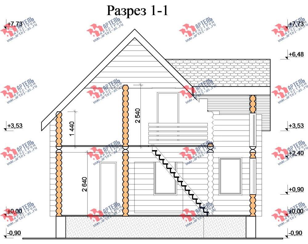 двухэтажный дом из оцилиндрованного бревна площадью от 100 до 150 кв. м. с  эркером, проект Вариант 1 фотография 3032