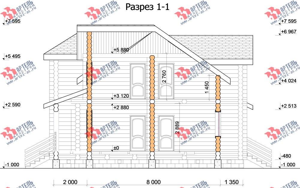 двухэтажный дом из оцилиндрованного бревна площадью от 150 до 200 кв. м. с  мансардой, проект Вариант 7 фотография 3110