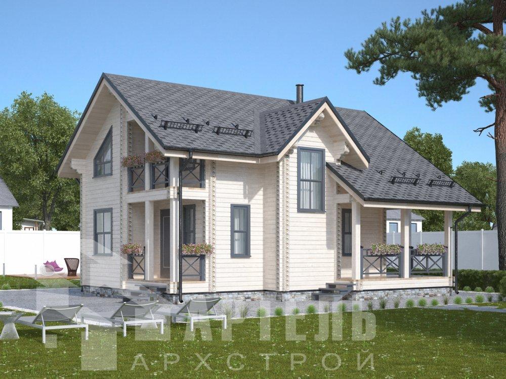двухэтажный дом омбинированные дома площадью от 100 до 150 кв. м., проект Вариант 9,9К Камень и Комбинированный фотография 6503