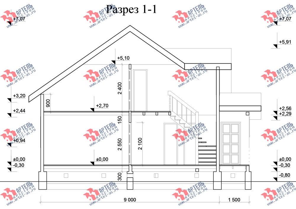 двухэтажный дом из бруса площадью от 100 до 150 кв. м. с  мансардой, проект Вариант 8 А-1 фотография 2196