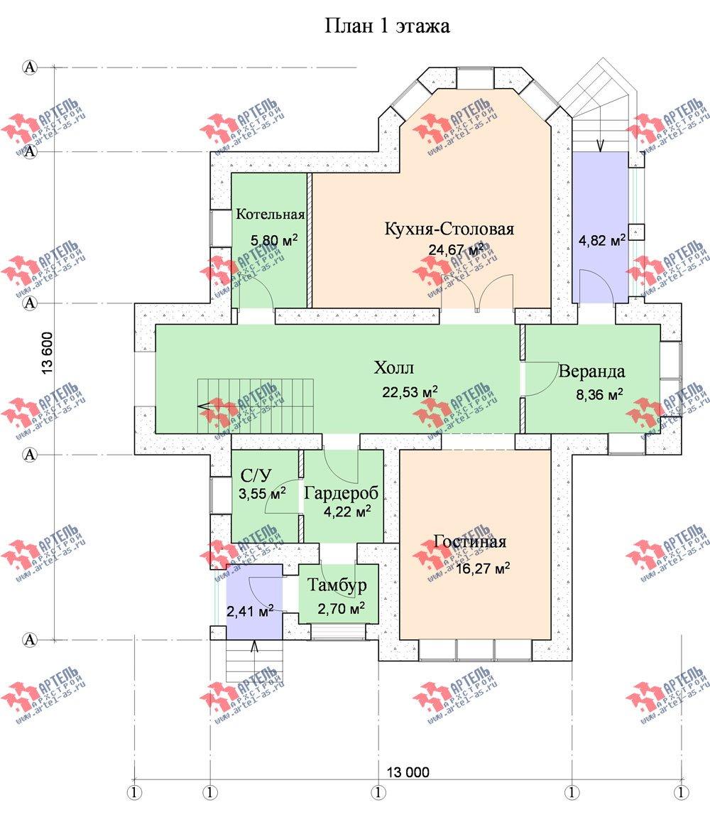двухэтажный дом из камня площадью от 150 до 200 кв. м. с  эркером, проект Вариант 10 фотография 546