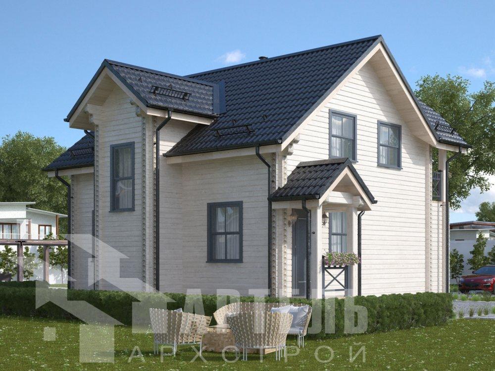 двухэтажный дом из профилированного бруса площадью от 100 до 150 кв. м. с  балконом, террасой, проект Вариант 10.7Л фотография 6552