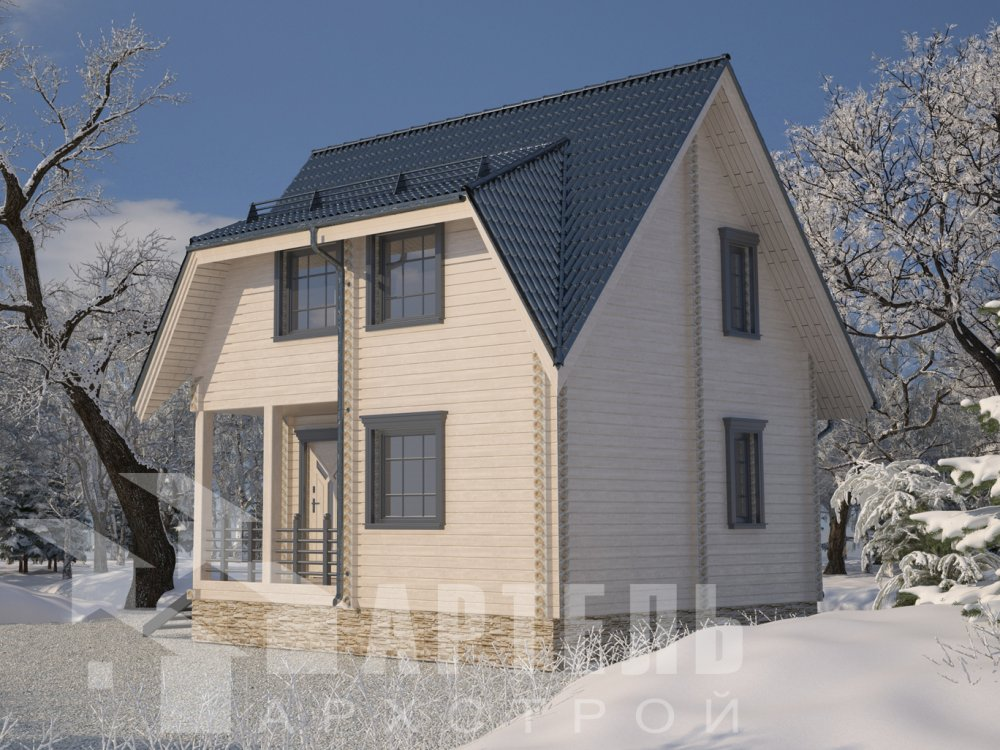 двухэтажный дом из профилированного бруса площадью до 100 кв. м. с  мансардой, проект Вариант 6 Д фотография 6568