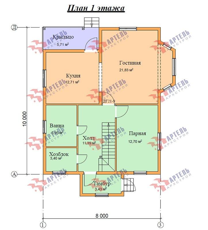двухэтажный дом из профилированного бруса площадью от 100 до 150 кв. м. с  балконом, мансардой, эркером, проект Вариант 10 И фотография 4882