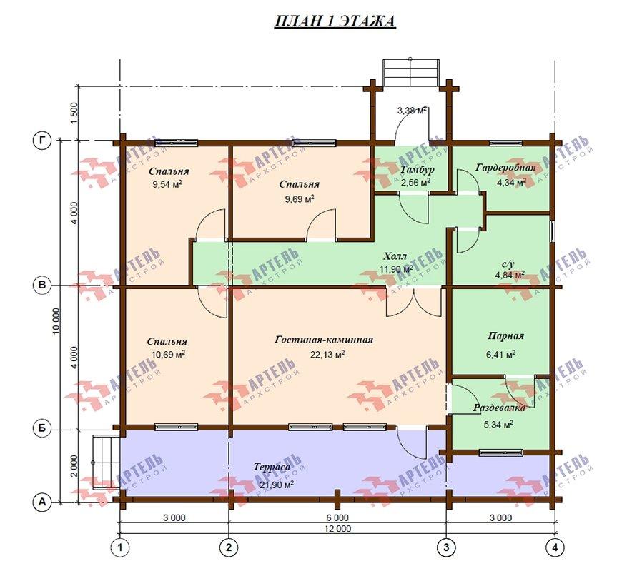 одноэтажный дом из профилированного бруса площадью от 100 до 150 кв. м. с  террасой, проект Вариант 10 В фотография 4885